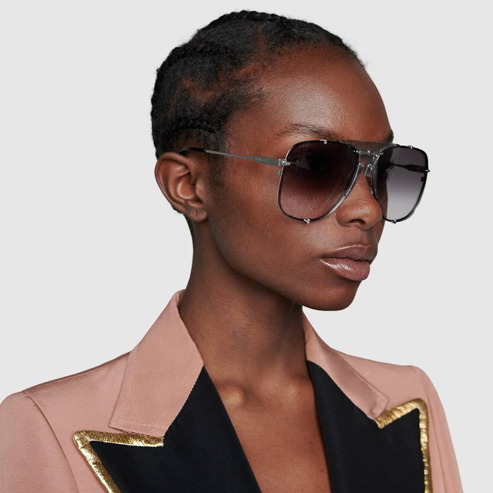 Gucci Glasses Toronto Aviators Silver M