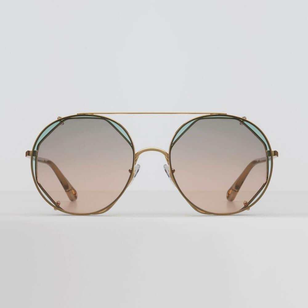 chloe sunglasse demi gold metal