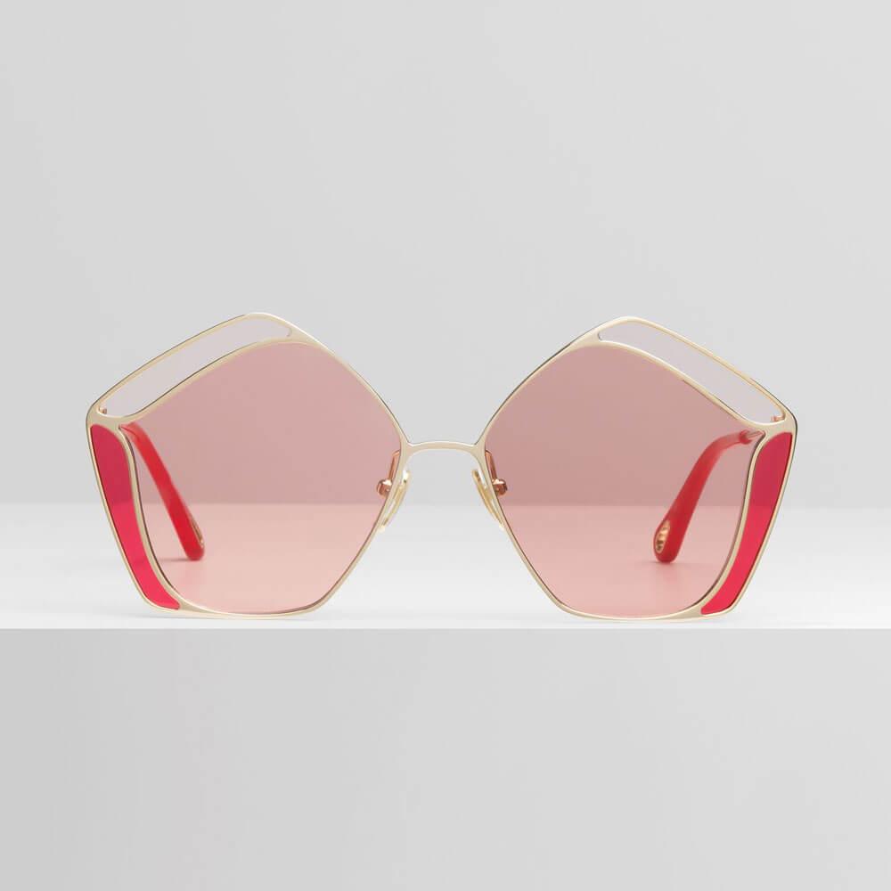 chloe sunglasses gemma gold pink