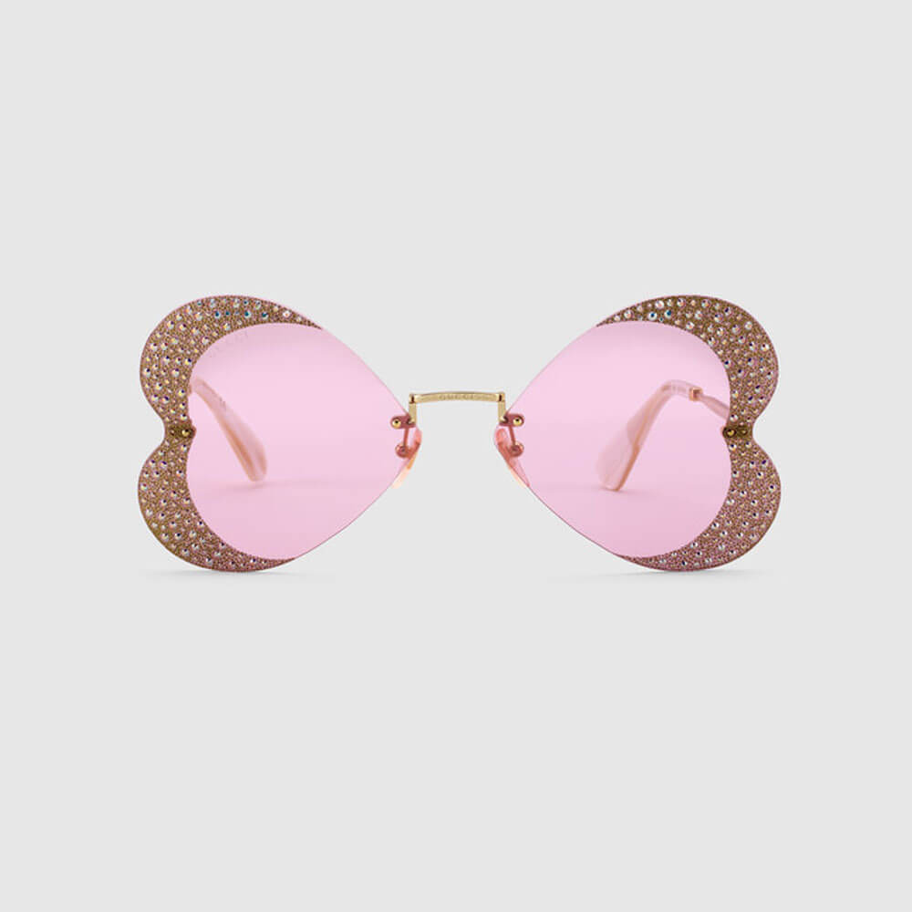 gucci sunglasses for woman cat eye hearts with crystals