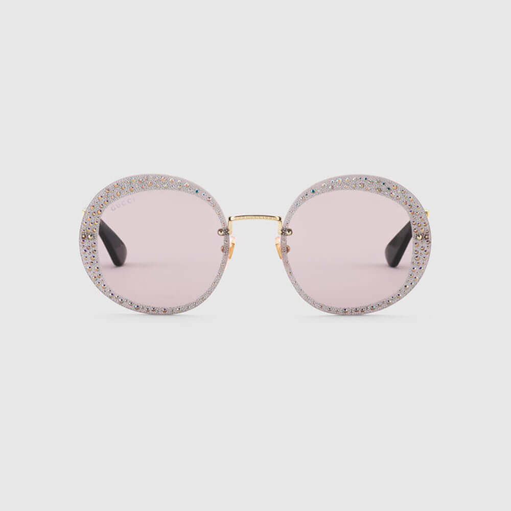 gucci sunglasses for woman round frame with crystals